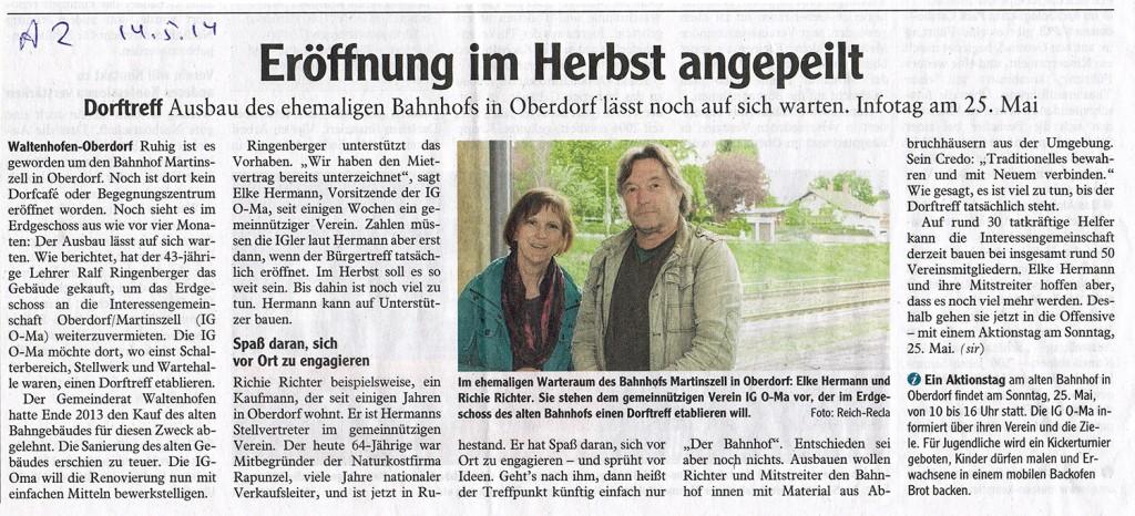 Allgäuer Zeitung vom 14. Mai 2014