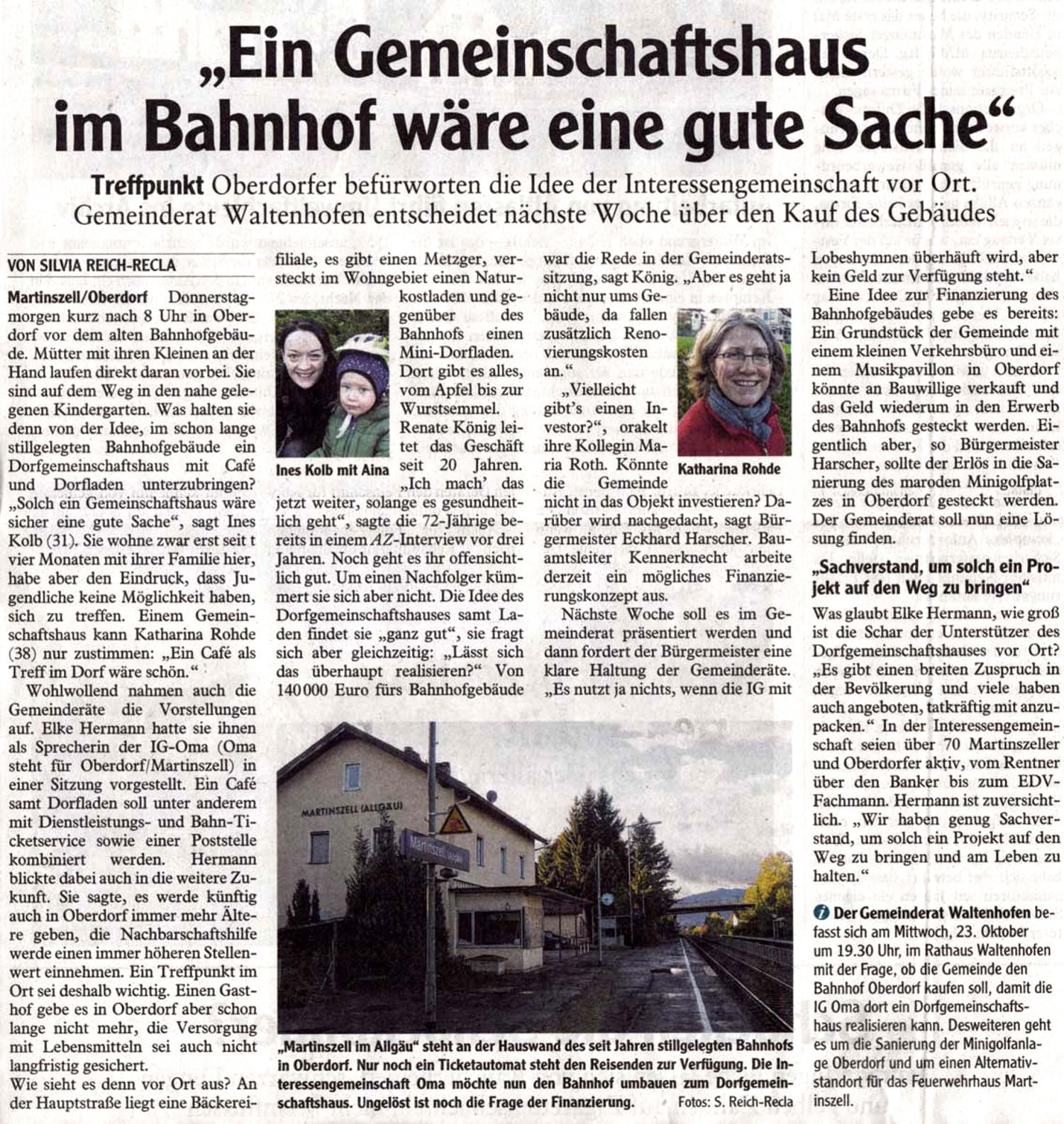 Allgäuer Zeitung vom 18. Oktober 2013