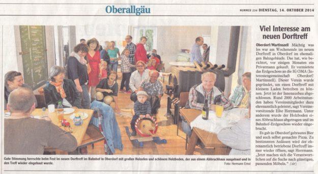 Allgäuer Zeitung vom 14. Oktober 2014